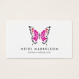 Pink Butterfly Logo II for Freelance Makeup Artist Business Card