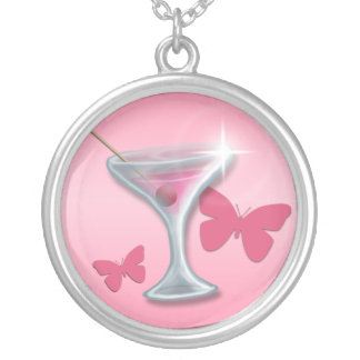 Pink Butterfly Martini ~ Round Necklace
