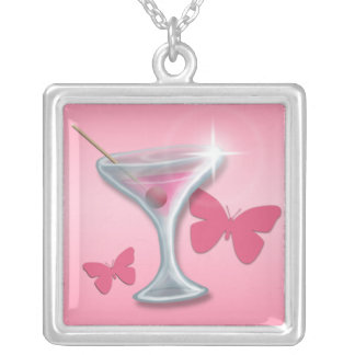 Pink Butterfly Martini ~ Square Necklace