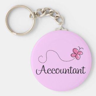 Pink Butterfly Occupation Accountant Key Ring