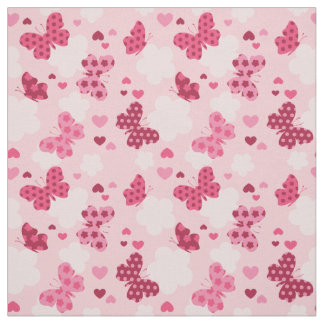 Pink butterfly pattern Fabric