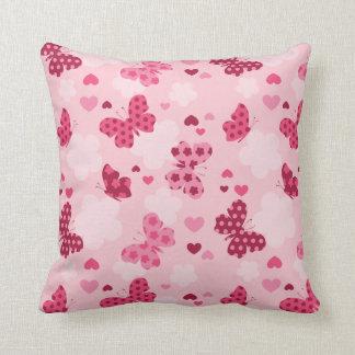 Pink butterfly pattern Throw pillow