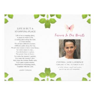 Pink Butterfly Photo Funeral Memorial Program 21.5 Cm X 28 Cm Flyer