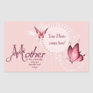 Pink Butterfly Photo Template Rectangle Sticker