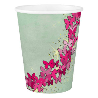 Pink Butterfly Princess Paper Cups
