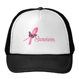 Pink Butterfly Ribbon - Breast Cancer Survivor Cap