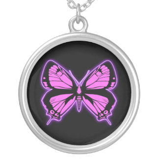 Pink Butterfly Silver Plated Necklace