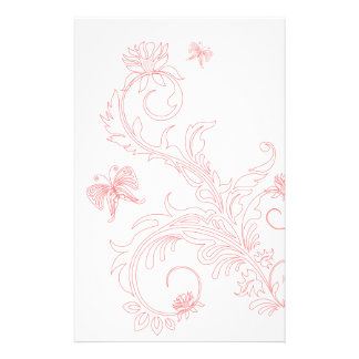 Pink Butterfly Swirls Stationery