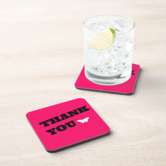 Pink Butterfly Thank You Drink Coasters