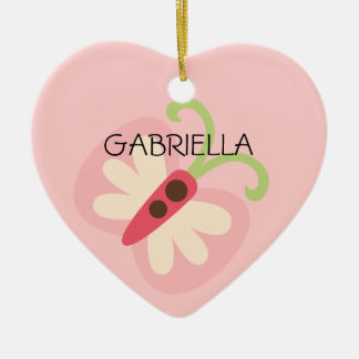 Pink Butterfly with Name Heart Ceramic Ornament
