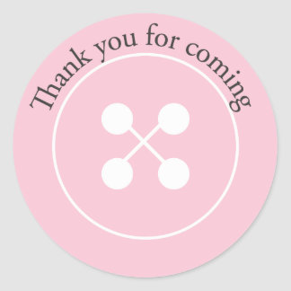 Pink Button Baby Shower Favor Sticker