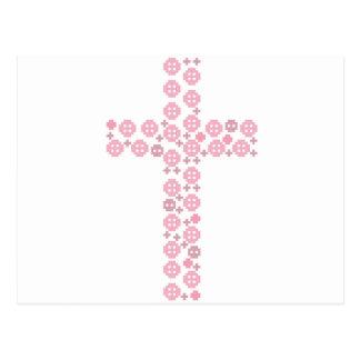 Pink button cross postcard