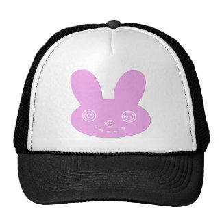 Pink Button Eyed Cute Happy Bunny Trucker Hats