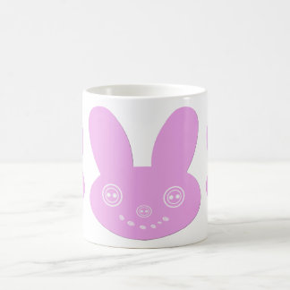 Pink Button Eyed Cute Happy Bunny Coffee Mugs