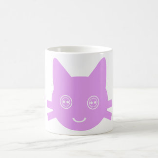 Pink Button Eyed Cute Happy Kitty Cat Mugs