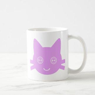 Pink Button Eyed Cute Happy Kitty Cat Mug