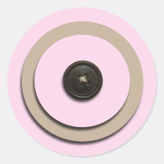Pink Buttons Brackets Envelope Seals Round Stickers