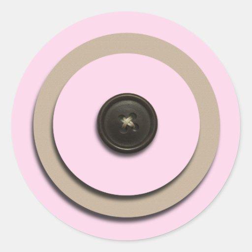 Pink Buttons & Brackets Envelope Seals Round Stickers