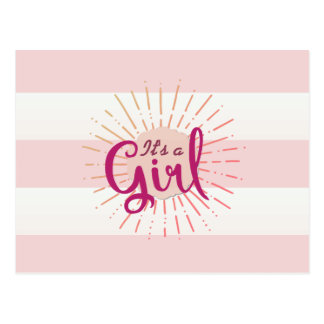 Pink Cabana Striped Baby Announcement Postcard