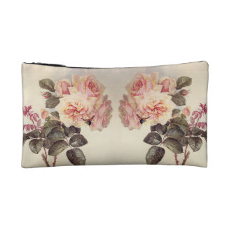 Pink Cabbage Rose Flowers Cosmetics Bag