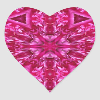 pink cabbage rose triangles  5072 heart sticker
