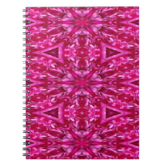 pink cabbage rose triangles  5072 spiral notebook