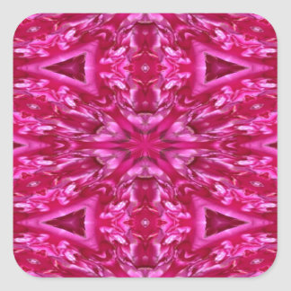 pink cabbage rose triangles  5072 square sticker