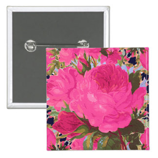 Pink Cabbage Roses 15 Cm Square Badge