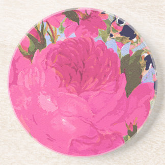 Pink Cabbage Roses Drink Coasters
