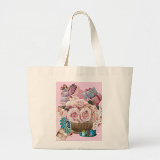 Pink Cabbage Roses with Turquoise Jumbo Tote Bag