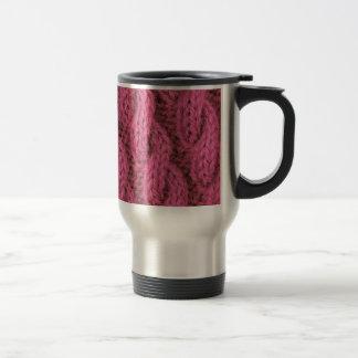 Pink cable knitting mugs