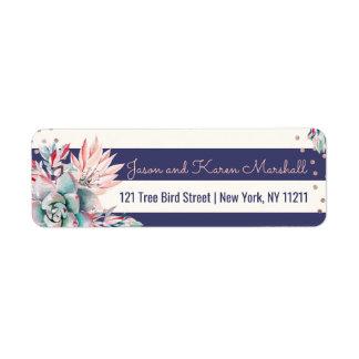 Pink Cactus Navy Stripes and Rose Gold Address Return Address Label