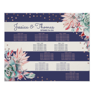Pink Cactus Navy Stripes Rose Gold Seating Chart Poster