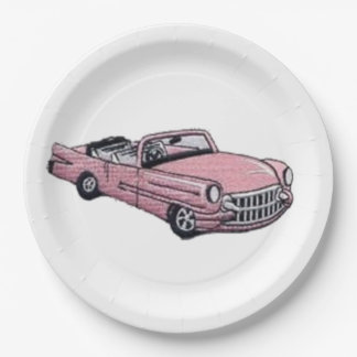 Pink Cadillac 9 Inch Paper Plate