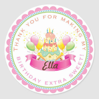 Pink Cake Birthday Party favor stickers