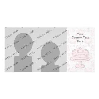 Pink Cake on Pink Cake Pattern. Photo Greeting Card