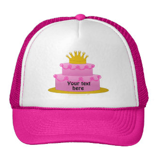 Pink Cake With Crown Birthday Mesh Hats