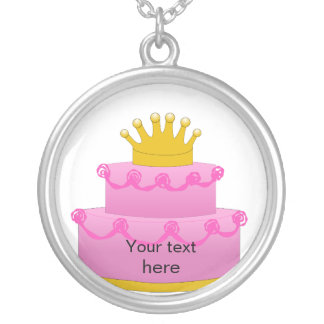 Pink Cake With Crown Birthday Silver Plated Necklace