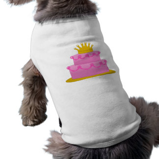 Pink Cake With Crown Birthday Sleeveless Dog Shirt