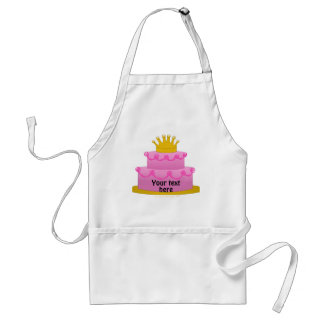 Pink Cake With Crown Birthday Standard Apron