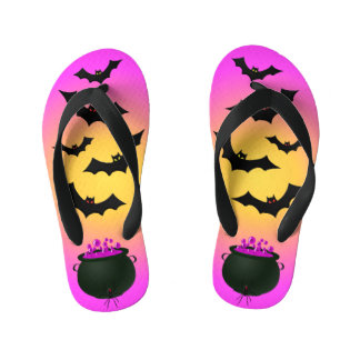 Pink Caldron and Bats Kid's Thongs