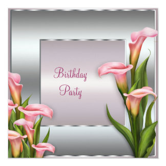 Pink Calla Lily Birthday Party Invitation Template
