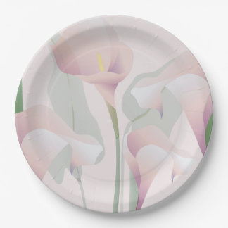 Pink Calla Lily Floral Paper Plates 9 Inch Paper Plate