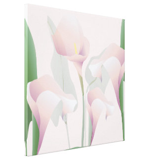 Pink Calla Lily Floral Wrapped Canvas Sq