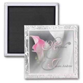 Pink Calla Lily Flourish Frame Magnet
