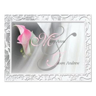 "Pink Calla Lily Flourish Frame Wedding Invitation 4.25"" X 5.5"" Invitation Card"