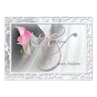 "Pink Calla Lily Flourish Frame Wedding Invitation 4.5"" X 6.25"" Invitation Card"