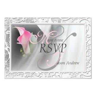 Pink Calla Lily Flourish Frame Wedding RSVP 9 Cm X 13 Cm Invitation Card