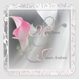 Pink Calla Lily Flourish Frame Wedding Sticker