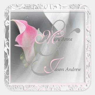 Pink Calla Lily Flourish Frame Wedding Sticker Square Sticker
